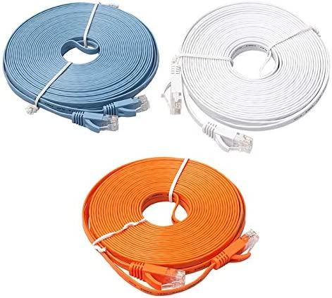 Occus Ethernet CAT6 Internet Network Flat Cable Cord Patch Lead RJ45 for PC Router Cable Length: 8m, Color: Blue
