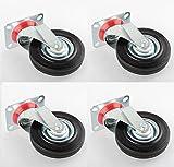 New MTN-G 4 PACK 5'' Swivel Casters Rubber Wheels Steel Top Plate Ball Bearings HEAVY DUTY!