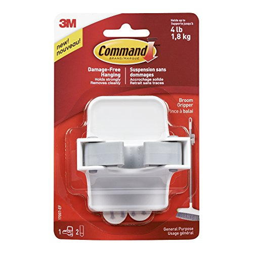 Command Damage-Free Broom Gripper, White, Organize without Tools, 1 gripper, 2 strips