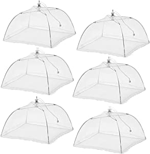 Pop-Up Mesh Screen Food Cover Tent Umbrella, 6 Pack Collapsible Mesh Food Screen Net Cover for Outdoors Parties Camping Picnics BBQ, Protect Your Food and Fruit from Flies, Insects and Bugs (18