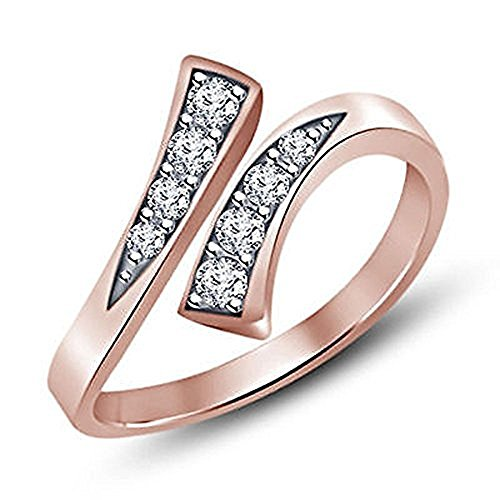 Star Retail 18K Rose Gold over 925 Silver Plated White Sim Lab Created Diamond Prong-Set Bypass Adjustable Toe Ring ()