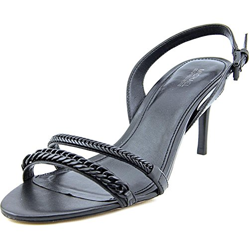 Open Kors Sandals Michael Toe (Michael Kors Womens Jackie Leather Open Toe Special Occasion, Black, Size 9.0)
