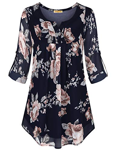 Baikea 3/4 Sleeve Shirts for Women Navy,Blouse for Work Womens Pleated Tunics Floral Printed Peasant Tops Juniors A-Line Henley Work Shirts Designers Shirttail Tee Navy Floral M