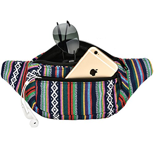 Kayhoma Boho Fanny Pack Stripe Festival Rave Bum Bags Travel Hiking Waist Belt Purse by Kayhoma (Image #3)