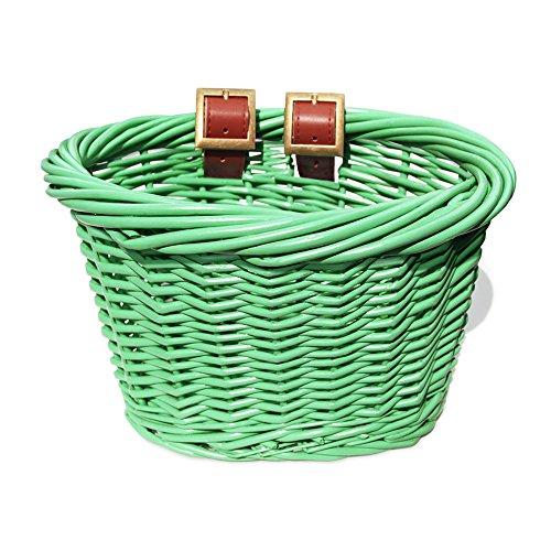 Colorbasket 01518 Kids Front Handlebar All Wicker Bike Basket, Hand Woven, Adjustable Leather Straps, Green