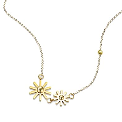 Amazon lureme stainless steel sunflower pendant necklace for lureme stainless steel sunflower pendant necklace for women and girls gold nl005842 2 aloadofball Gallery