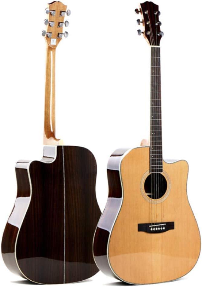 LOIKHGV Guitarras- Guitarra contrachapada Hecha a Mano de Palo de Rosa de Pino Rojo 40, Madera de 41 Pulgadas Guitarra acústica con Cuerdas de Acero, b, 41 Pulgadas