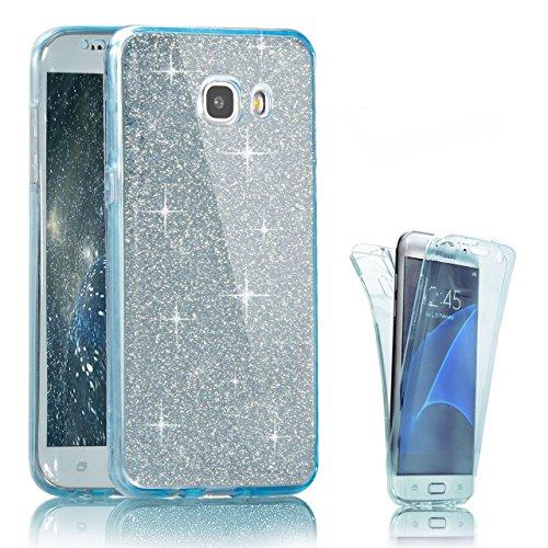 Funda Silicona Protectora para Samsung Galaxy A5 2016, Bonice Funda TPU Doble Frontal Trasera 360 para Samsung Galaxy A5 2016 5.2, Cristal Claro Absorción TPU Parachoques Carcasa Case Funda Protector A-Azul