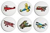 Vintage Airplane Drawer Pulls / Ceramic Handle Knobs / Set of 6