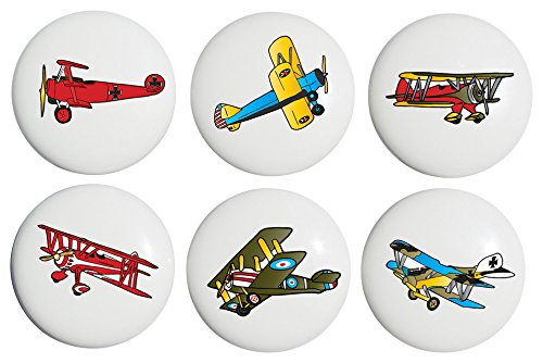 (Vintage Airplane Drawer Pulls / Ceramic Handle Knobs / Set of 6)