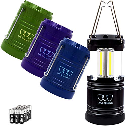 Gold Armour 4 Pack LED Camping Lantern COB Portable Flashlight with 12 AA Batteries – Survival Kit for Emergency, Hurricane, Power Outage, Camping, Hurricane, Power Outage, Great Gift Set