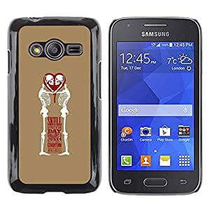 LECELL--Funda protectora / Cubierta / Piel For Samsung Galaxy Ace 4 G313 SM-G313F -- Love Skull Funny Brown White Heart --