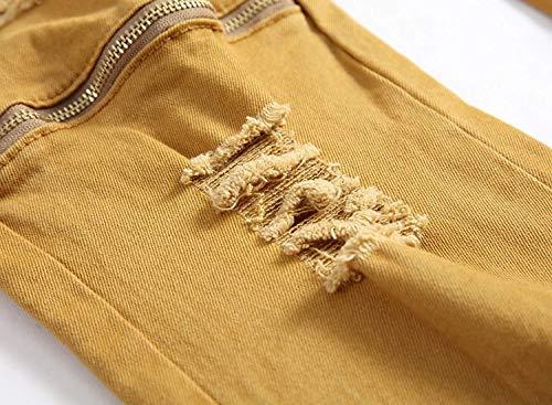 Los Agujeros Retro Skinny Jeans Cintura De Estiramiento Vaqueros Caqui Pantalones Destruidos Mediados Battercake Khaki Rasgados Cómodo Hombres Casual Recto qwt7ZanH
