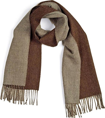 Contrast Scarf in 100% Pure Baby Alpaca for Men and Women - A Great Gift Idea in Many Colors (Heather Brown) -