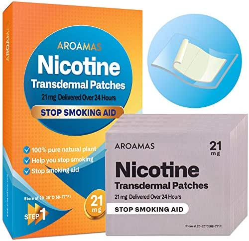 Aroamas Nicotine Patches to Quit Smoking, Nicotine Transdermal Patches 21mg, 21 Patches