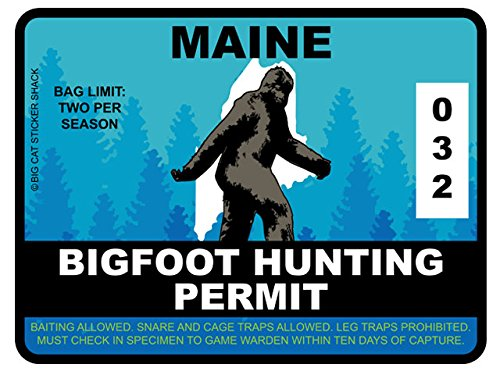 Bigfoot Hunting Permit - MAINE (Bumper Sticker)