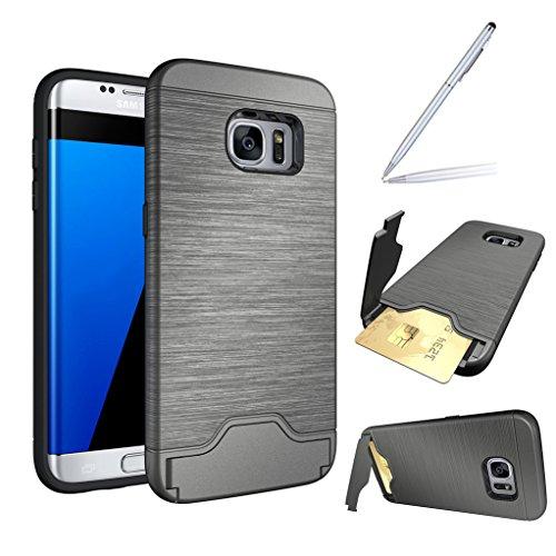 Trumpshop Smartphone Carcasa Funda Protección para Samsung Galaxy S7 edge + Oro Rosa + Fina de PC y TPU Silicona Caja Protectora Función de Soporte Ranuras para Tarjetas Gris