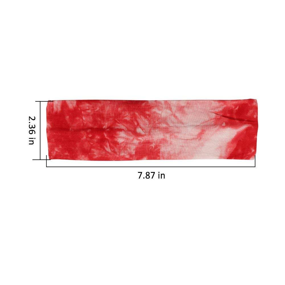 Paquete de 4 bandas para la cabeza Vendimia El/ástica Cabeza impresa Envoltura Humedad el/ástica Cruz de color s/ólido Diadema para mujeres 23x8 cm