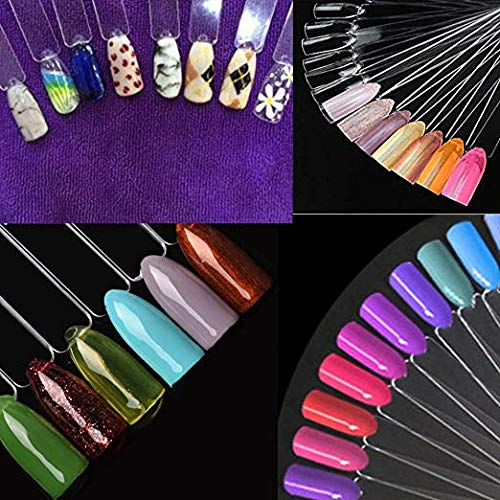 CINEEN 50 Pieces Nail Art Polish Display Sticks Fake Nail Tips Fan for Vanish Practice Colour Spectrum Display