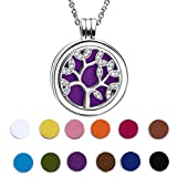925 Sterling Silver Cubic Zirconia Life Tree Essential Oil Diffuser Locket Necklace