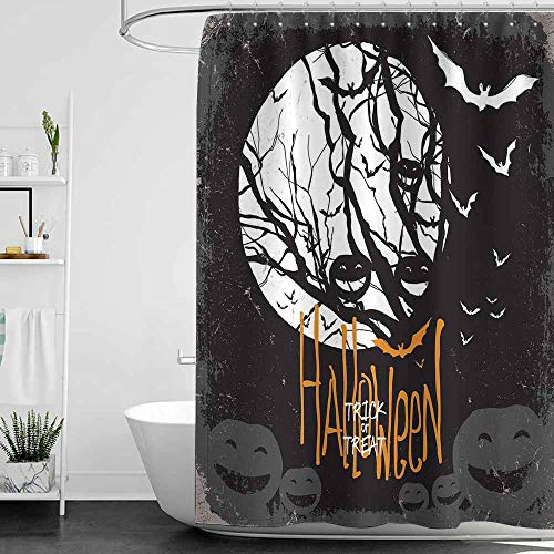 SKDSArts Shower Curtains Mermaid Vintage Halloween,Halloween Themed Image with Full Moon and Jack o Lanterns on a Tree,Black White,W72 x L72,Shower Curtain for Shower stall
