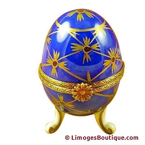 BLUE FOOTED EGG - LIMOGES PORCELAIN FIGURINE BOXES AUTHENTIC IMPORTS