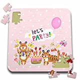 Uta Naumann Sayings and Typography - Cute Baby Safari Wild Animals Typography On Pink Polkadots -Lets Party - 10x10 Inch Puzzle (pzl_275538_2)