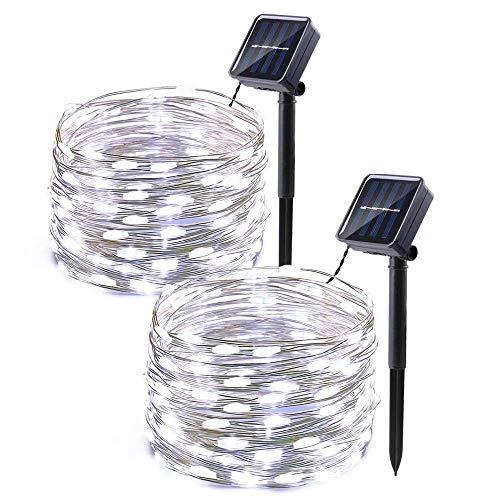 Icicle Solar Fairy Lights, 2 Pack 33ft 100LED Light Sensor Control Flexible Copper Wire Waterproof Decorative Light for Garden, Lawn, Pergola, Backyard, Bush, Gazebo, Porch Decorations (White)