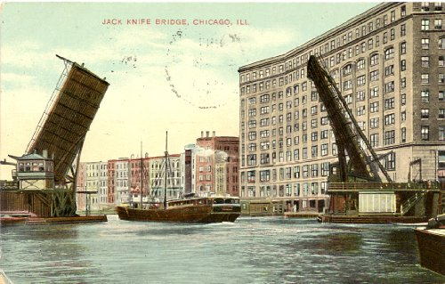1909 Vintage Postcard - Jack Knife Bridge - Chicago Illinois