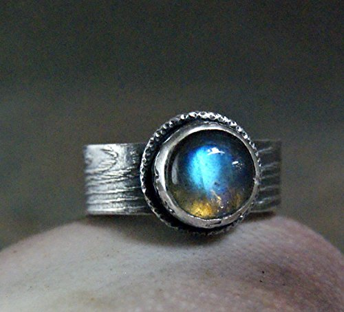 Celestial Labradorite Ring Sterling Silver Brach Band ()