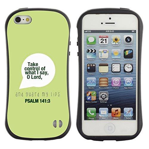 DREAMCASE Citation de Bible Silicone et Rigide Coque Protection Image Etui solide Housse T¨¦l¨¦phone Case Pour APPLE IPHONE 5 / 5S - PSALM 141:3 O LORD