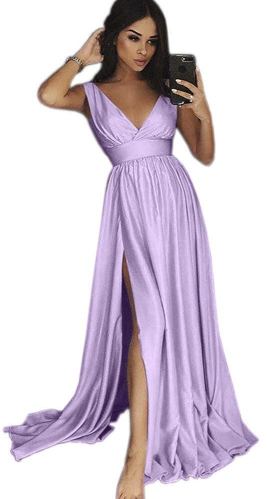 Lavender Dressylady Women's V Neck EmpireWaist A Line Long Prom Evening Dress with Slit