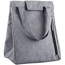 LT Lunch Bag Thermal Insulated Lunch Box Stylish Lunch Food Handbag Container Organizer for Office Women Men Student Kid Teen Roomy Lunch Tote with Zip Pocket Wide Handle Cooler Bag (Gray)