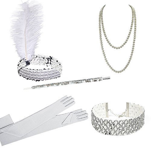 [1920s Gatsby Flapper Costume Accessories,Feather Headband,Long Pearl Necklace,Long Black Satin Gloves,Cigarette Holder for Women] (Silver Costumes Accessory)