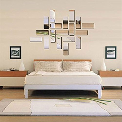 Wonderpark Mosaic Rectangle Mirror Wall Decals DIY 3D Stickers, Silvery (Lowell 3 Light)