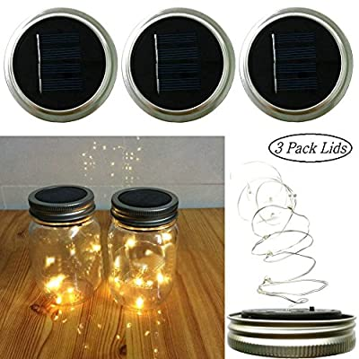 Solar Lights Garden Decor Mason Jar Lids Insert String Lights (3 PCS), 10 LED Bulbs Starry Fairy String Lids Lights Fit for Regular Mouth Mason Jars, Warm White Only Cover(Jar & Handle Not Included)