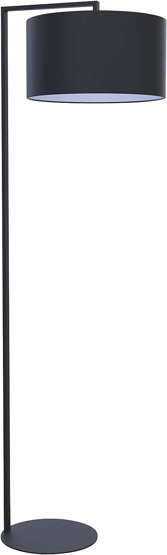 Lightbox Elegante lámpara de pie, 1,75 m, 1 bombilla E27 máx. 25 W de metal/tela en color negro.