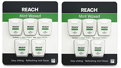 Reach Mint Waxed Dental Floss 100 Yards (Pack of 10)
