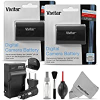 (2 Pack) Vivitar LP-E6 LP-E6N Battery and Charger Kit for Canon EOS 5D Mark II, III, EOS 6D, 60D, 7D, 7D Mark II, 70D