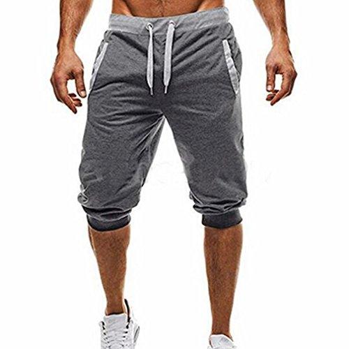 Fitness Jogging Elastic Stretchy Cotton Mid Waist Bermuda Sweatpants Short Pant (Deep Gray, XXL) ()