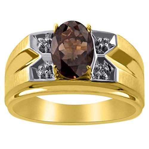 14k Gold Smokey Quartz (Diamond & Simulated smokey Quartz Ring 14K Yellow or 14K White Gold)