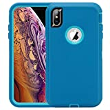 CAFEWICH iPhone Xs Max Case, Anti-Fall Shockproof Non Slip Silicone Heavy Duty Protective Case,Rugged Rubber TPU Triple Protection Case for iPhone Xs Max 6.5''(2018)-Blue/Teal