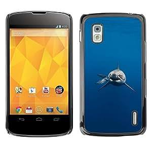 Be Good Phone Accessory // Dura Cáscara cubierta Protectora Caso Carcasa Funda de Protección para LG Google Nexus 4 E960 // Shark Jaws Danger Diver Diving