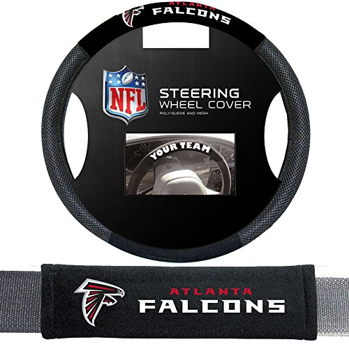 Fremont Die Atlanta Falcons NFL Steering Wheel Cover and Seatbelt Pad Auto Deluxe Kit