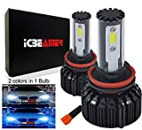 ICBEAMER H11 LED COB Headlight Kit Bulb Replace HID or Halogen Lamp Bulbs [Color:6000K White + 30000K Dark Blue]