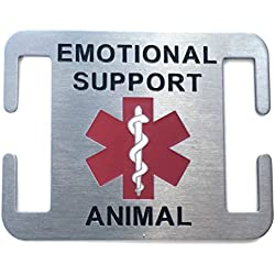 Leashboss Emotional Support Animal ESA Dog ID Tag - Stainless Steel - Attaches to Nylon Collar or Harness (1 in)
