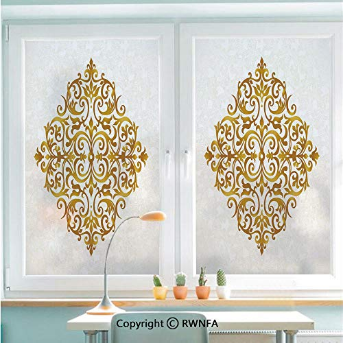 No Glue Static Cling Glass Sticker Victorian Style Traditional Filigree Inspired Royal Oriental Classic Print Decorative Decorative,22.8