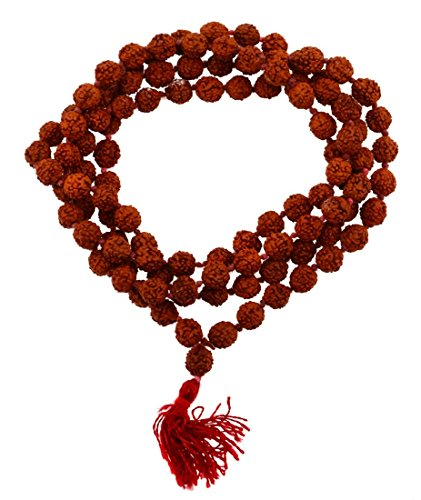 (Mandala Crafts Tibetan 108 Shiva Yoga Red String Knotted Rudraksha Seeds Mala (Red Tassel Knotted))