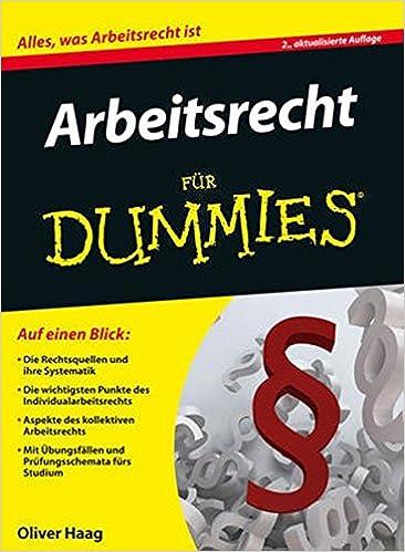 Arbeitsrecht Für Dummies Amazonde Oliver Haag Bücher