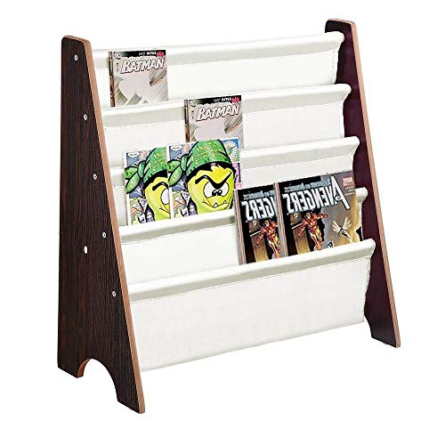 - Walnut Wood Color Kids Book Shelf Sling Storage Rack Organizer Bookcase Display Holder